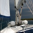 Skippers perspective on a stormy cruise in Croatia — Stock Photo