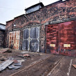 Industrial buildings covered in rust and patina — Stock Photo