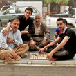 People playing traditional board game, Arbil, Autonomous Kurdistan, Iraq — Stockfoto