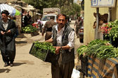 Grocer carrying vegetables to his stand on bazaar (market) in Iraq — Stock Photo