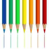 7 colour pencils — Stock Vector