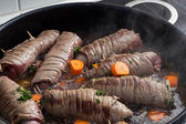 Cooking german dish rouladen — Stock Photo
