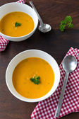 Pumpkin cream soup for two — Stock Photo