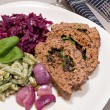 Stock Photo: Traditional europedinner of meatloaf, red cabbage and green b