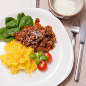 Meat sauce and spaghetti squash for dinner — Stock Photo