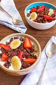 Chocolate granola or muesli with yogurt and fruit — Stock Photo