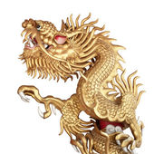 Escultura del dragón de oro chino — Foto de Stock
