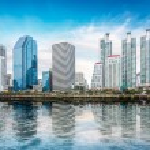 Cityscape on blue sky — Stock Photo