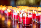 Candle and fire in glass — Stock Photo