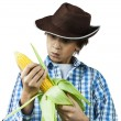Farm Boy Husking Corn — Stock Photo