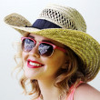 Blonde woman in sunglasses — Stock Photo