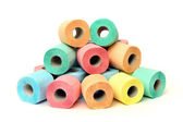 A lot of colorful toilet paper rolls — Stock Photo