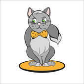 Vector illustration of gray cat with orange bow — Wektor stockowy