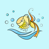 Little swimming fish — Stock Vector