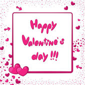 Happy Valentine's Day card with pink hearts and arrows — Stock Vector