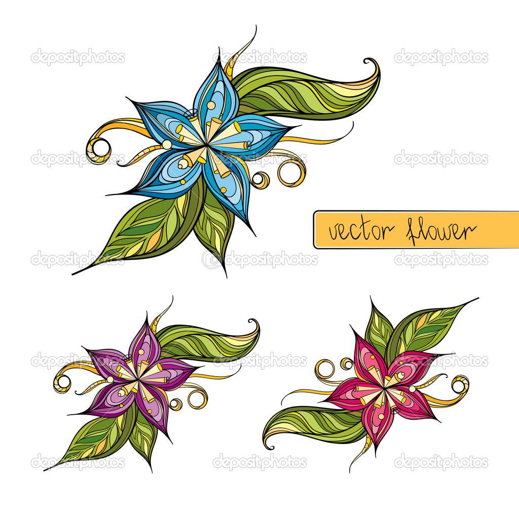 Fiori stilizzati colorati per la decorazione vettoriali for Fiori stilizzati colorati