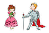 The little princess and the little knight — Stock Vector