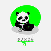 Vector illustration with cartoon panda sitting at his notebook — Stock Vector