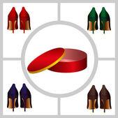 Damen schuhe und schuhkarton — Stockfoto