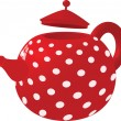 Red with white dots kettle — Stock Vector
