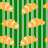 Croissants on a striped green background — Stock Vector