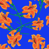 Orange lilies on a blue background — Vettoriale Stock
