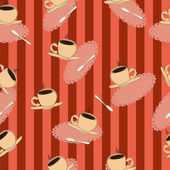 Coffee cups on a red striped backgroundŒ — Stock Vector