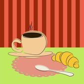 Cup of coffee and croissant on the table — Stock Vector
