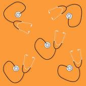 Phonendoscopes on orange background — Stock Vector