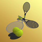Racket on a yellow backgrounŒ — Stock Vector