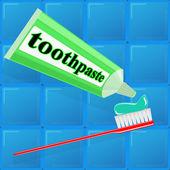 Spread toothpaste on the brush — Stockvector