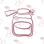Glass jar on the background of cherriesŒ — Stock Vector