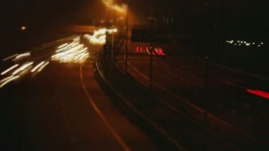 Nighttime Light Beam Highway — Stock Video