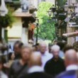 Crowded Touristic Shopping Street — Stock Video #30876991