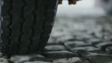 Automobile Tire on Pavement — Stock Video