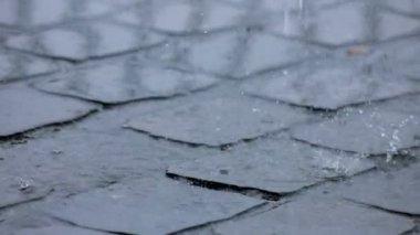 Rain Falls on Pavement Road — Stock Video