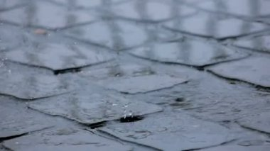 Sudden Increase of Rainfall on Pavement — Stock Video
