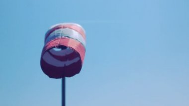 Wind Sock from Behind in Blue Sky — Stock Video