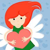 Niña con corazón — Vector de stock