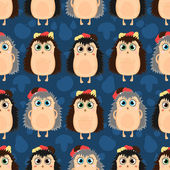 Funny cartoon seamless pattern of hedgehogs — Stockvector