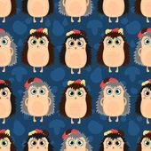 Funny cartoon seamless pattern of hedgehogs — Vettoriale Stock