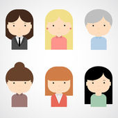 Set of colorful female faces icons. — Stock Vector