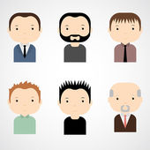 Set of colorful male faces icons. — Stock Vector