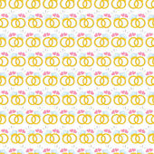 Seamless pattern with gold wedding rings — Stok Vektör