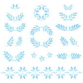 Set of watercolor leaves, badges, floral elements, wreaths and laurels. — Stock Vector