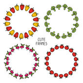 Set of colorful frames of vegetables. Illustration. Beautiful background. — Stock Vector