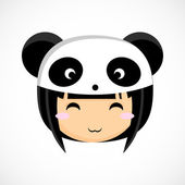 Face of a little cute girl in costume panda. Illustration. Beautiful background. — Stock Vector