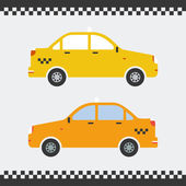 Vector graphic yellow taxi car flat design. — Stock Vector