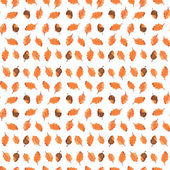 Colorful autumn seamless pattern made of hand drawn acorns. Beautiful watercolor background. Vector illustration. Endless texture can be used for printing onto fabric and paper or scrap booking. — Stock Vector