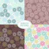 Set of seamless floral patterns. Vector illustration. Beautiful background. Endless texture can be used for printing onto fabric and paper or scrap booking. — Stock Vector